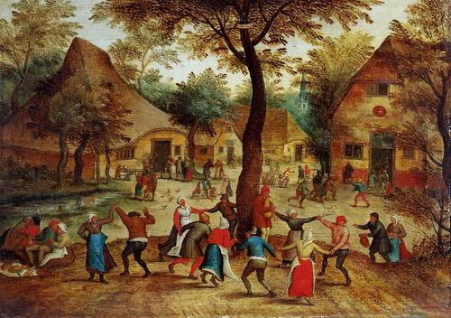 Village-Scene-With-Dance-Around-The-May-Pole-People-Oil-Painting-LP04230